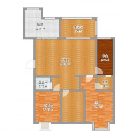 滨河湾3室2厅1卫1厨143.00㎡户型图