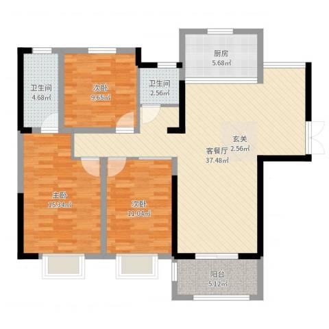 爱涛天岳城3室2厅2卫1厨114.00㎡户型图