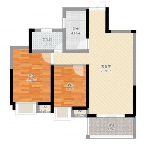 南昌华南城2室2厅1卫1厨73.00㎡户型图