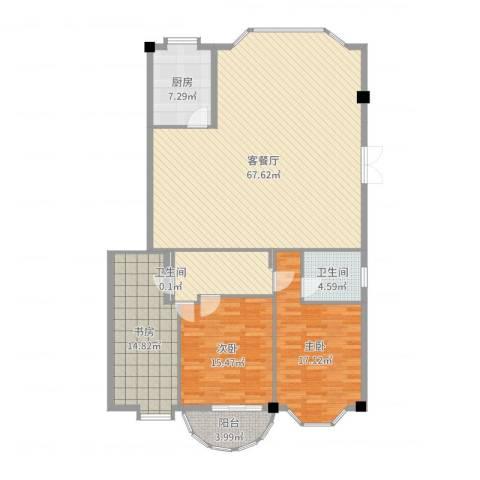 家景花园 华景苑3室2厅2卫1厨164.00㎡户型图