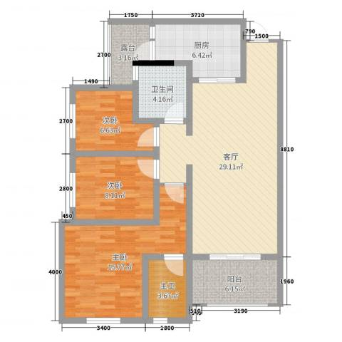 五星华府3室1厅1卫1厨104.00㎡户型图