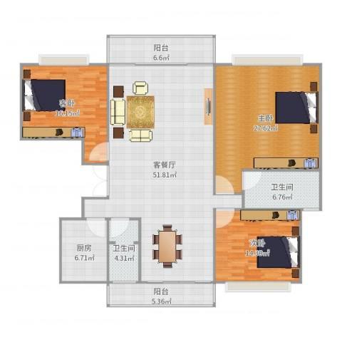 世纪嘉苑3室2厅2卫1厨175.00㎡户型图