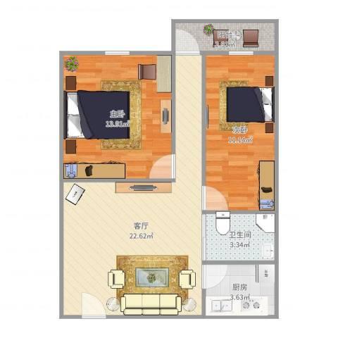 周门小区2室1厅1卫1厨72.00㎡户型图