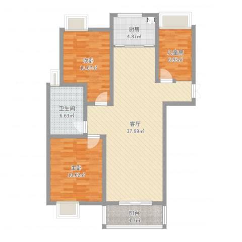 望景华庭3室1厅1卫1厨108.00㎡户型图