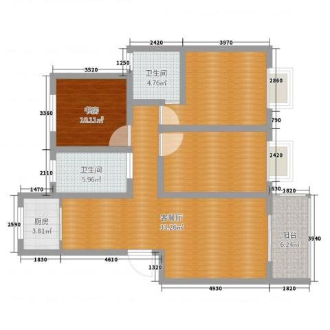 天泽水岸1室2厅2卫1厨114.00㎡户型图