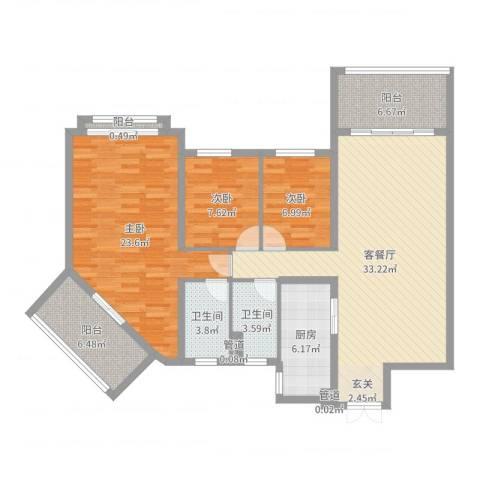 天乙海岸名都3室2厅2卫1厨123.00㎡户型图