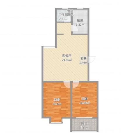 绿园爱舍2室2厅1卫1厨86.00㎡户型图
