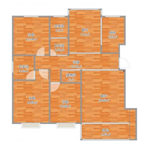 徽商四季花城3室2厅3卫1厨139.00㎡户型图