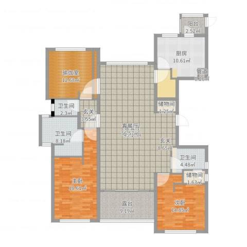 裕沁庭2室2厅3卫1厨178.00㎡户型图