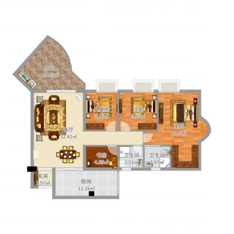 天一新城4室1厅2卫1厨140.00㎡户型图