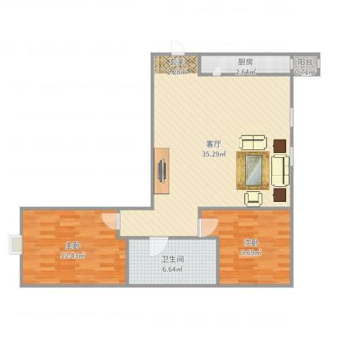 任河里2室1厅1卫1厨84.00㎡户型图