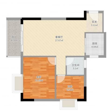 至尊豪苑2室2厅1卫1厨75.00㎡户型图
