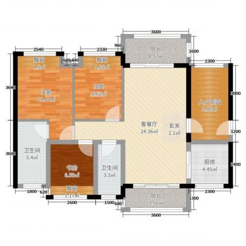 花海湾3室2厅2卫1厨102.00㎡户型图