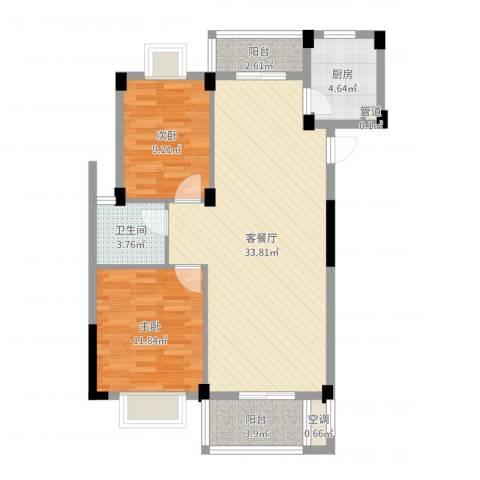 嘉兴东方巴黎城2室2厅1卫1厨88.00㎡户型图