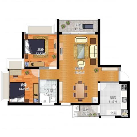东风广场2室2厅1卫1厨94.00㎡户型图