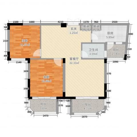 安球・景玉兰庭2室2厅1卫1厨98.00㎡户型图