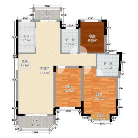安球・景玉兰庭3室2厅2卫1厨118.00㎡户型图