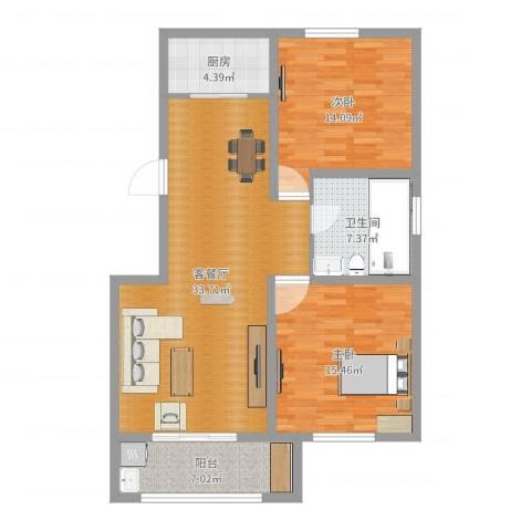 书香名府2室2厅1卫1厨103.00㎡户型图