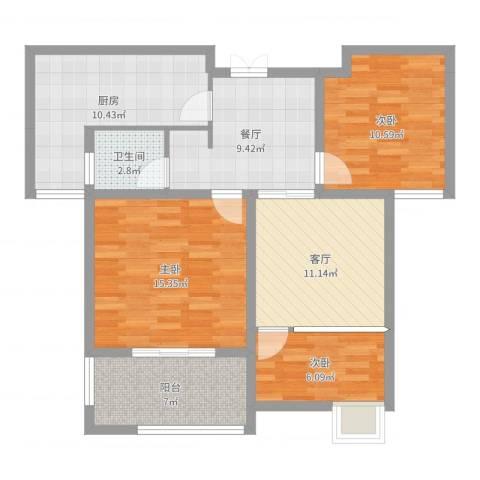 爱涛天岳城3室2厅1卫1厨91.00㎡户型图