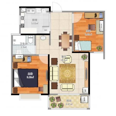朗诗未来街区2室1厅1卫1厨59.00㎡户型图