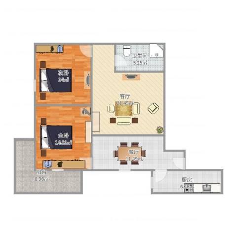 嘉瑞通小区2室2厅1卫1厨102.00㎡户型图