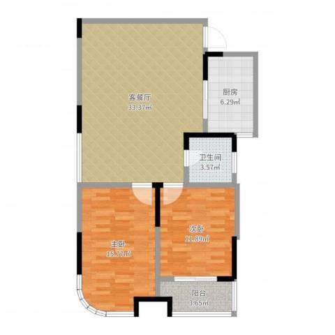 博时海岸星城2室2厅1卫1厨93.00㎡户型图