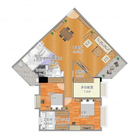 同济广场2室2厅2卫1厨133.00㎡户型图