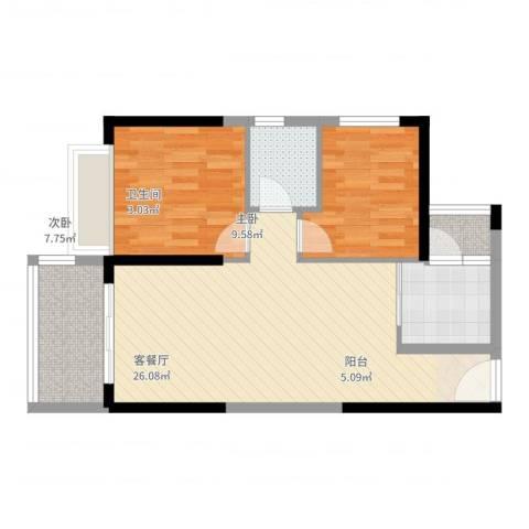 港湾江城2室2厅1卫1厨71.00㎡户型图