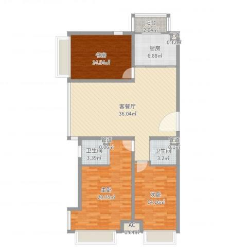 首尔甜城3室2厅2卫1厨128.00㎡户型图