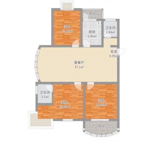 金色水岸花园3室2厅2卫1厨125.00㎡户型图