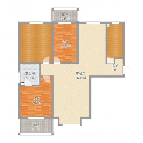 上都名苑2室2厅1卫0厨135.00㎡户型图