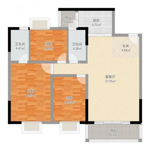 盈丰・星际豪庭3室2厅2卫1厨124.00㎡户型图