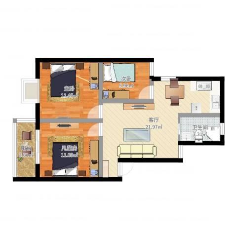 谭桥公寓3室1厅1卫0厨72.00㎡户型图