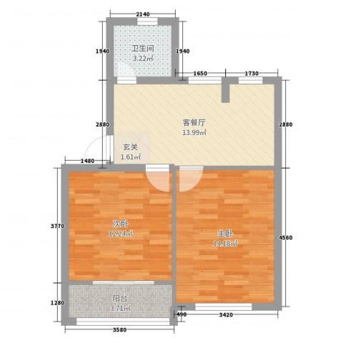 香山新村东北街坊2室2厅1卫0厨66.00㎡户型图