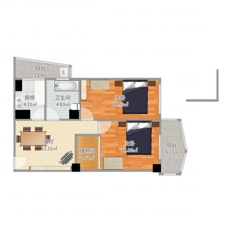 葵英街老房2室1厅1卫1厨68.00㎡户型图