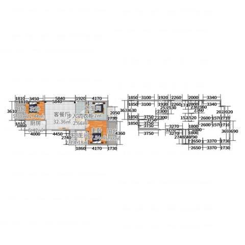 紫薇花园2室2厅3卫1厨135.00㎡户型图