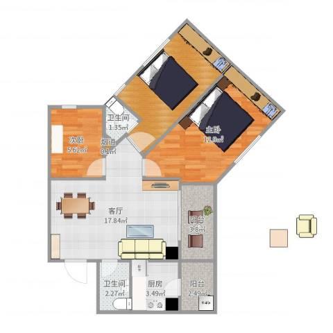 广海花园2室1厅2卫1厨75.00㎡户型图