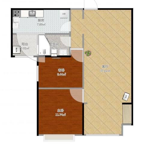 恒大名都90平wll2室1厅1卫1厨90.00㎡户型图