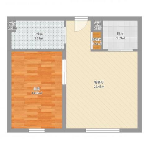 阳光半岛国际公寓二期1室2厅1卫1厨58.00㎡户型图