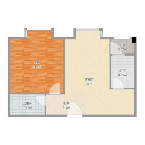 民丰西苑1室2厅1卫1厨128.00㎡户型图