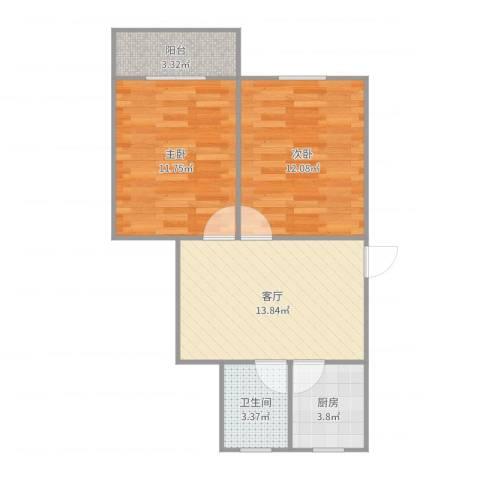 454341淞泽家园一区2室1厅1卫1厨60.00㎡户型图