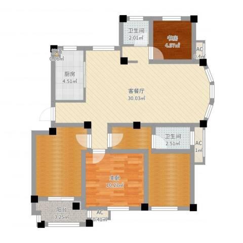 江信国际花园2室2厅2卫1厨100.00㎡户型图