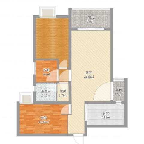 东城尚品2室1厅1卫1厨97.00㎡户型图