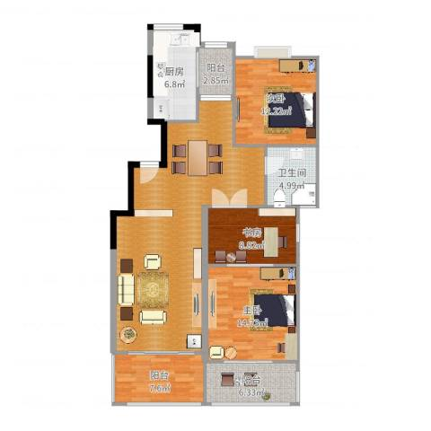 中星海上华庭3室0厅1卫1厨130.00㎡户型图