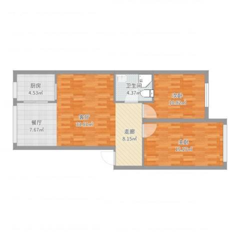 文祥豪府三期2室1厅1卫1厨86.00㎡户型图