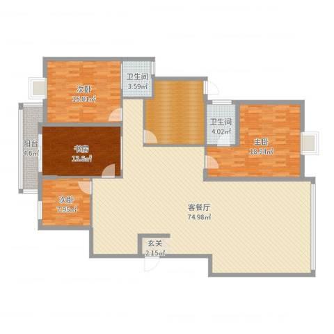 京电花园4室2厅2卫0厨195.00㎡户型图