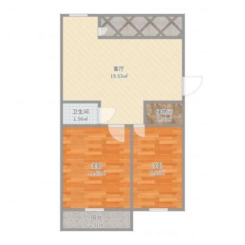 六铺炕三区2室1厅1卫0厨61.00㎡户型图