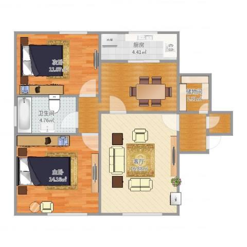 吴兴大楼2室1厅1卫1厨83.00㎡户型图