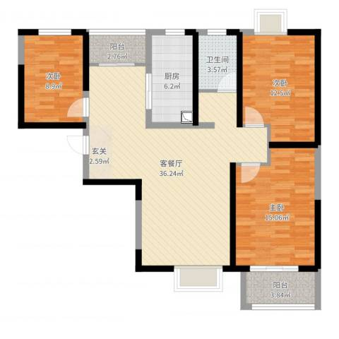 西安星雨华府3室2厅1卫1厨111.00㎡户型图