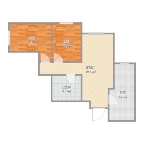 宋家庄家园纪女士2室2厅1卫1厨65.00㎡户型图